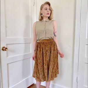 Vintage Ditsy Floral Cognac Velvet Skirt